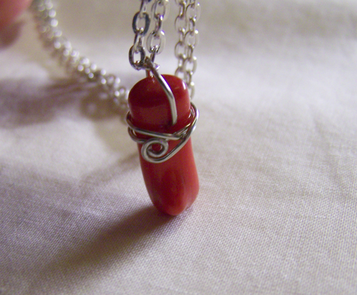 coral red garnet and heavenly pendant teardrop with stone sterling